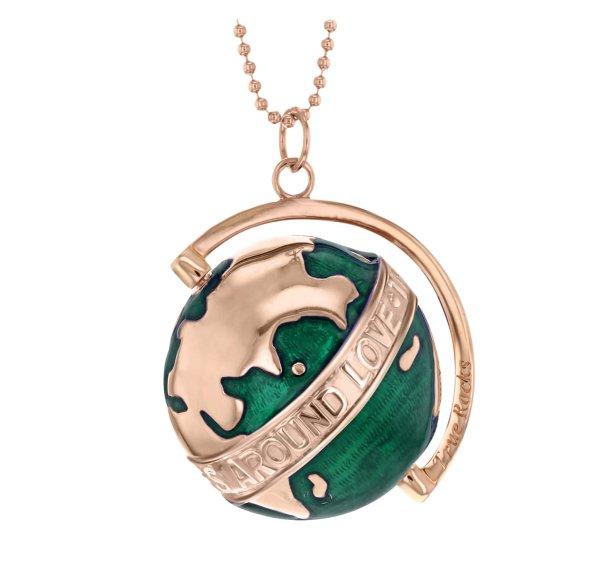 Large-Deep-Green-Enamel-&-Rose-Gold-Revolving-Globe-Pendant
