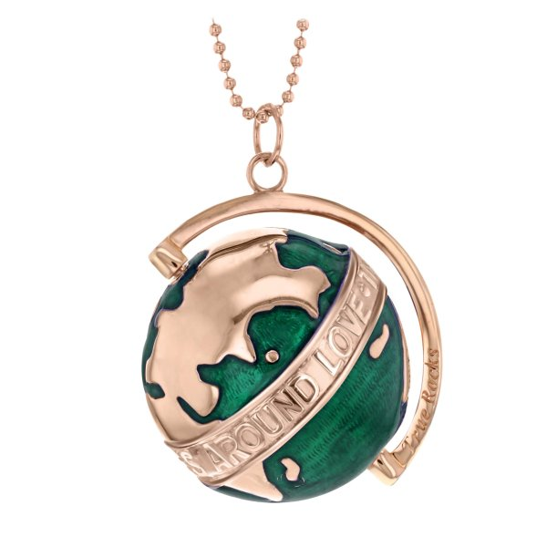 Large-Deep-Green-Enamel-&-Rose-Gold-Revolving-Globe-Pendant