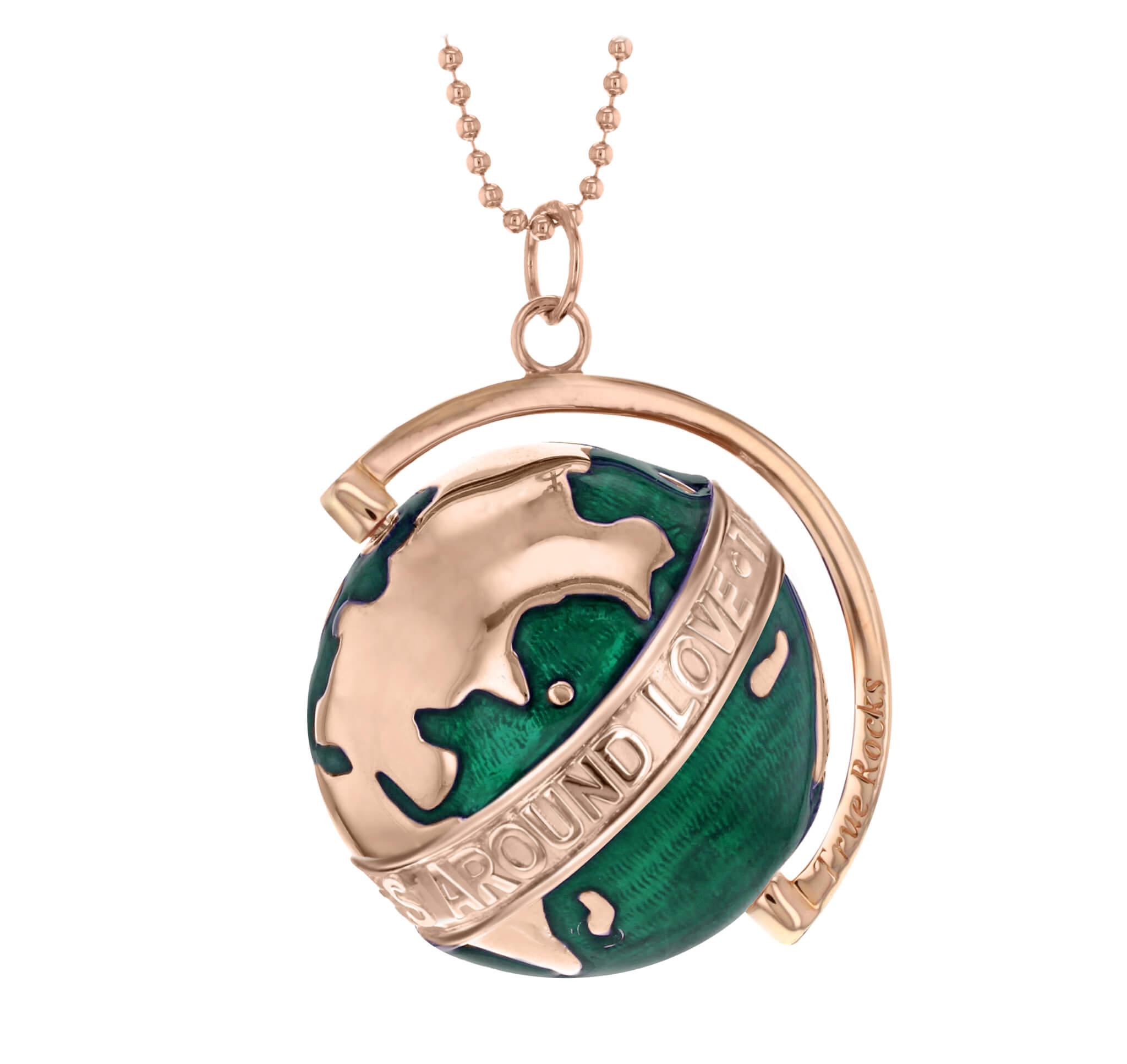 large deep green enamel rose gold revolving globe pendant true rocks