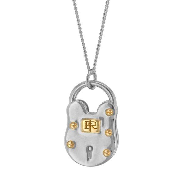 2 Tone Silver and gold padlock