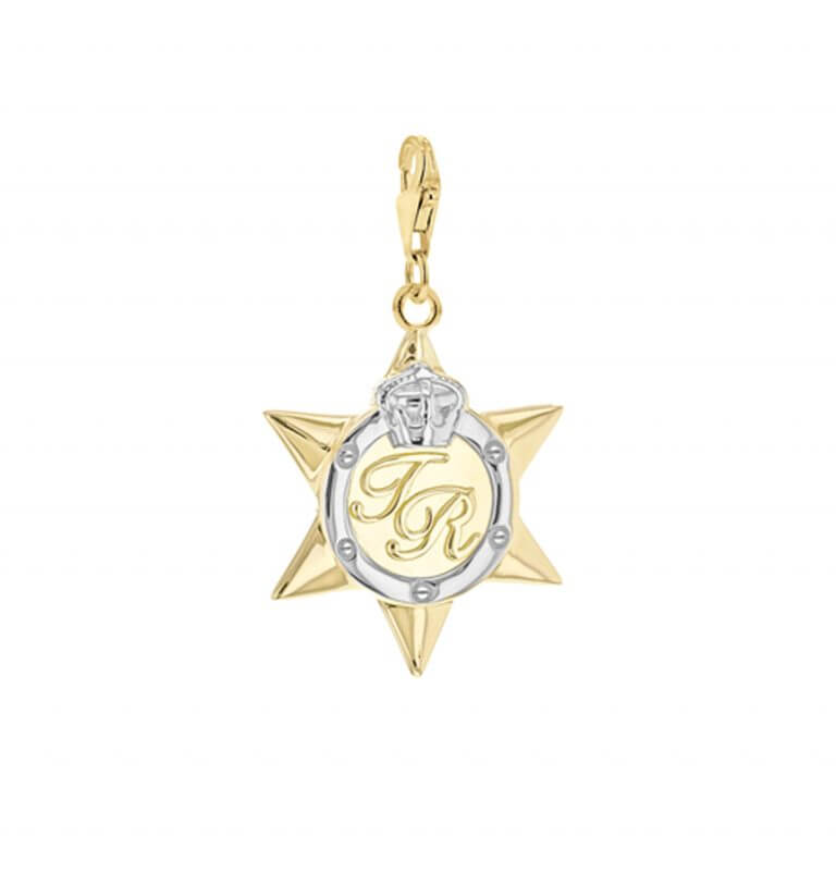 Star Medal Large gold silver charm invertedNEW