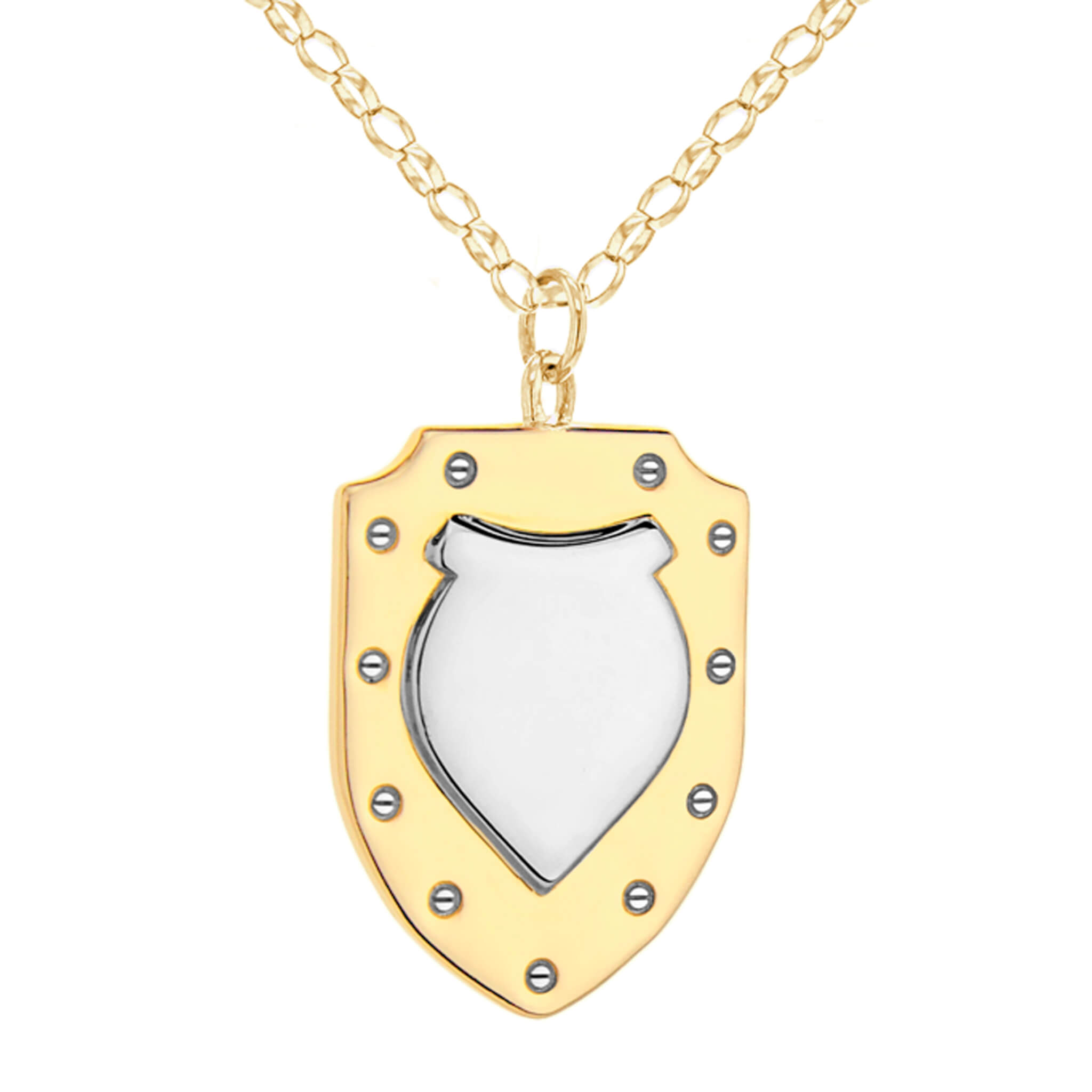 2 TONE GOLD/SILVER SHIELD – LARGE