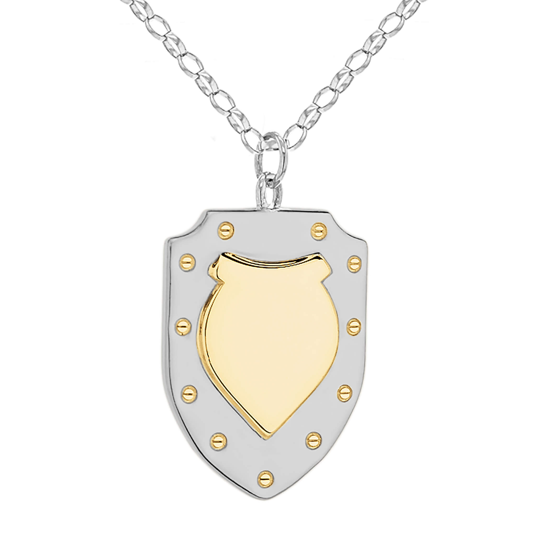 2 TONE SILVER/GOLD SHIELD – LARGE