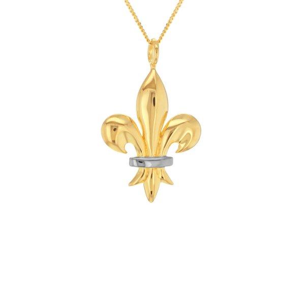 Fleur-de-lis-gold-silver-mini-pendant
