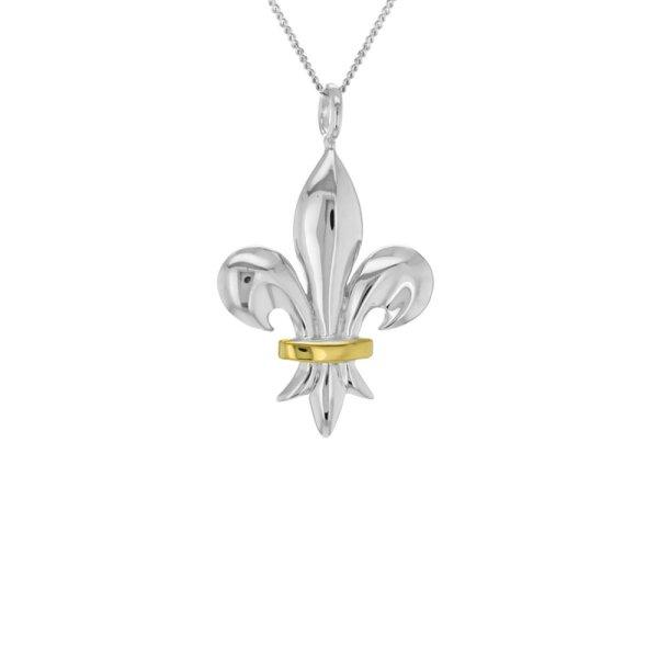 Fleur-de-lis-silver-gold-mini-pendant