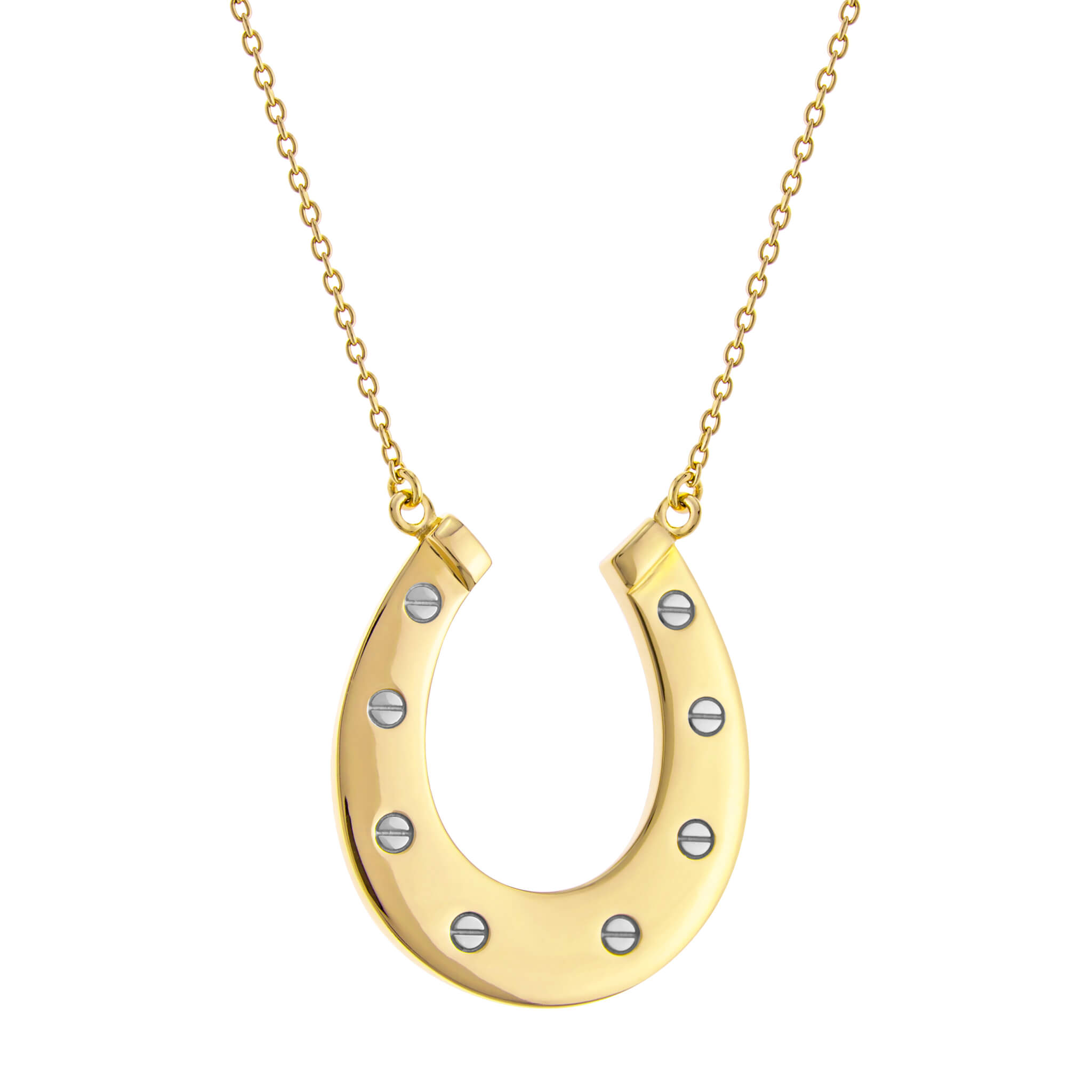2 TONE YELLOW GOLD/SILVER HORSESHOE – LARGE PENDANT