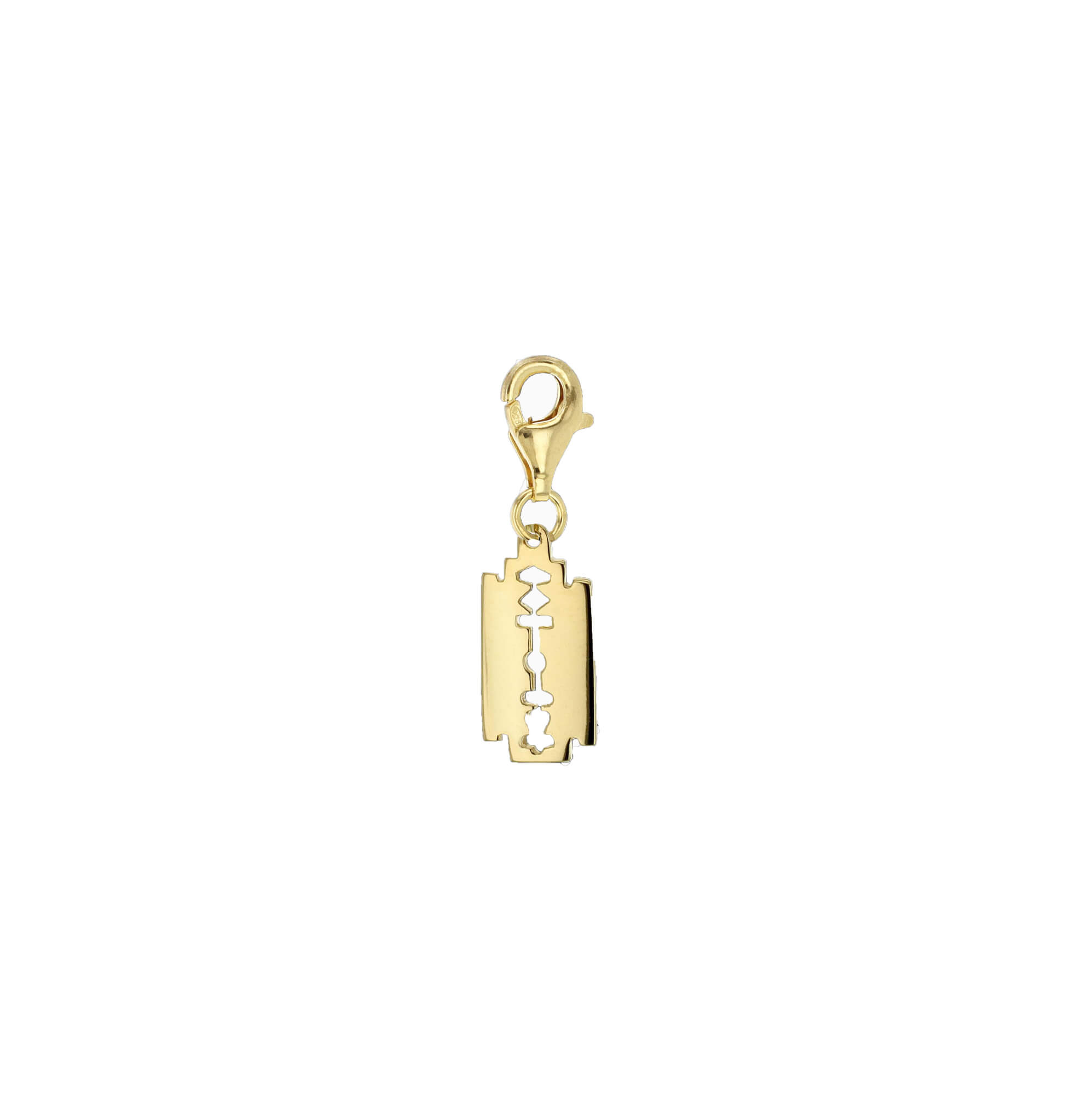 Mini yellow razorblade charm white