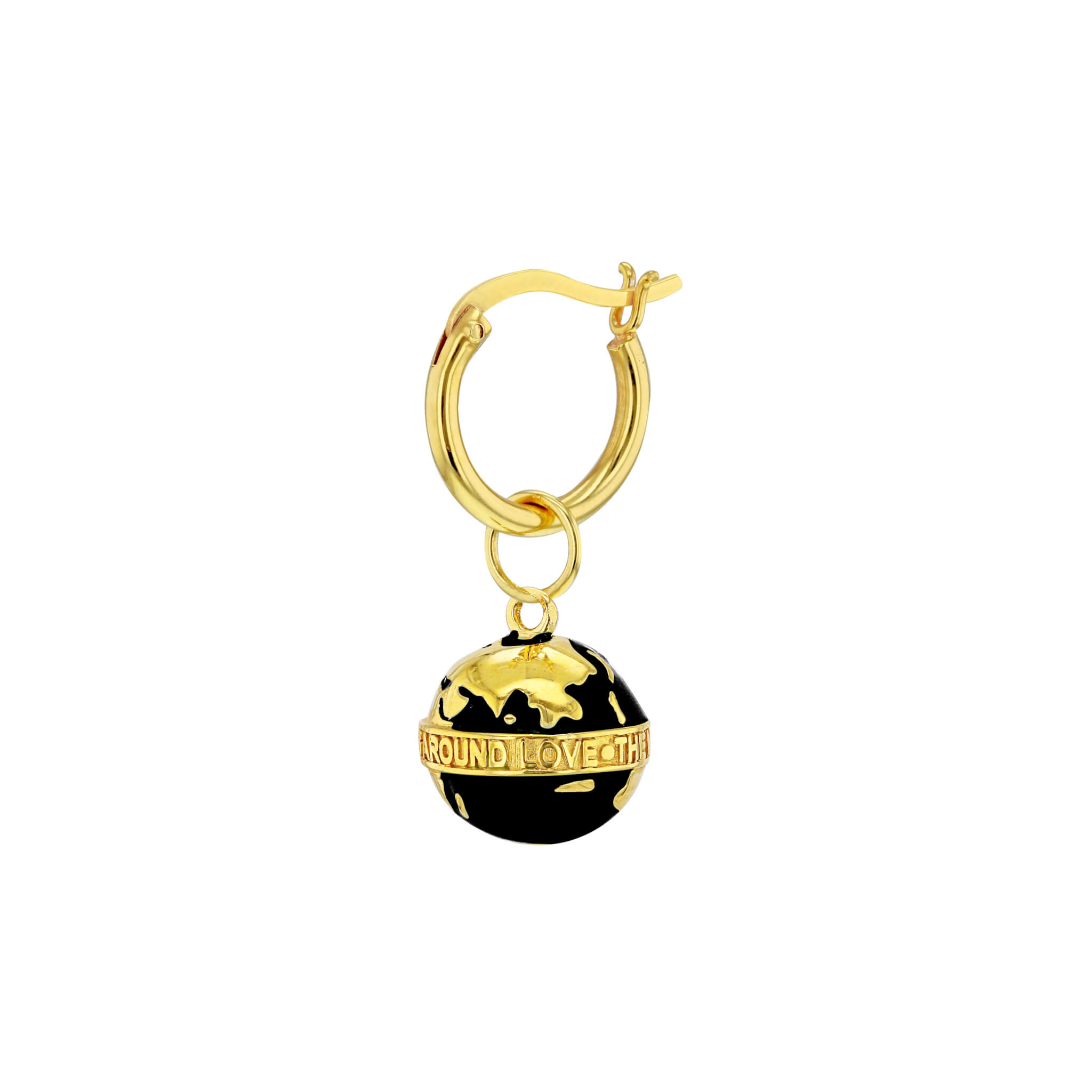 Black-Gold Single Globe on Gold Hoop