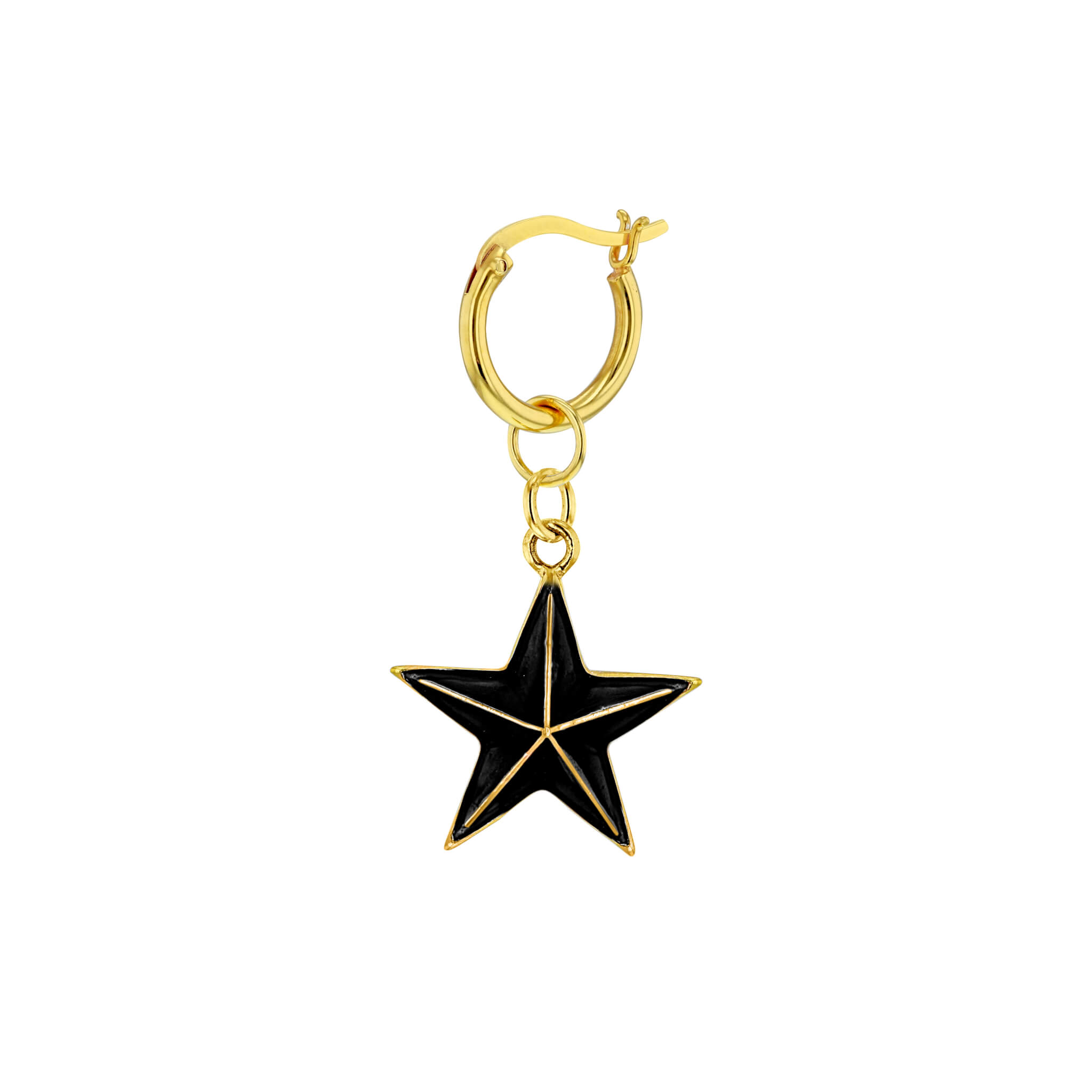 Black-Gold Single Mini Star on Gold Hoop