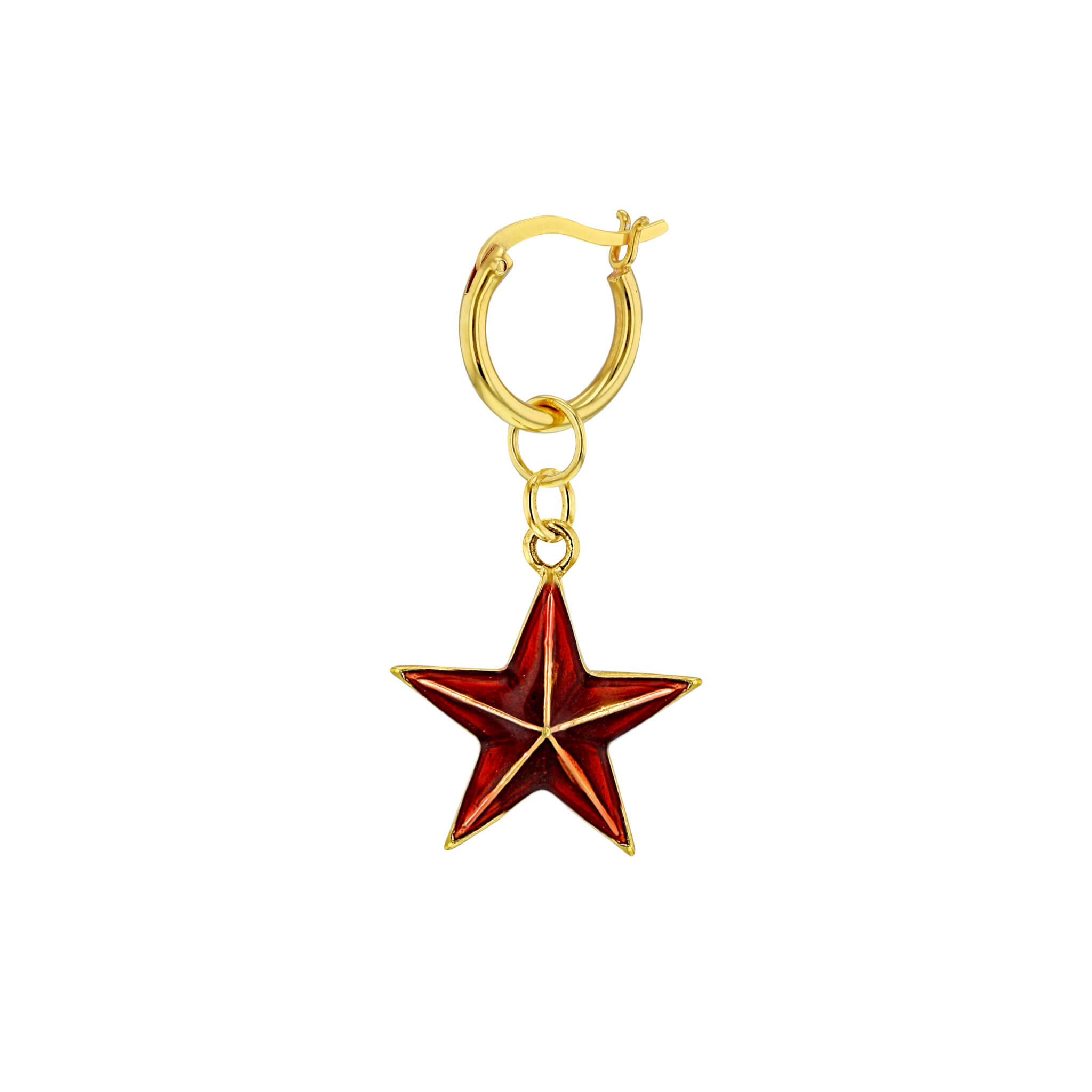 Red-Gold Single Mini Star on Gold Hoop
