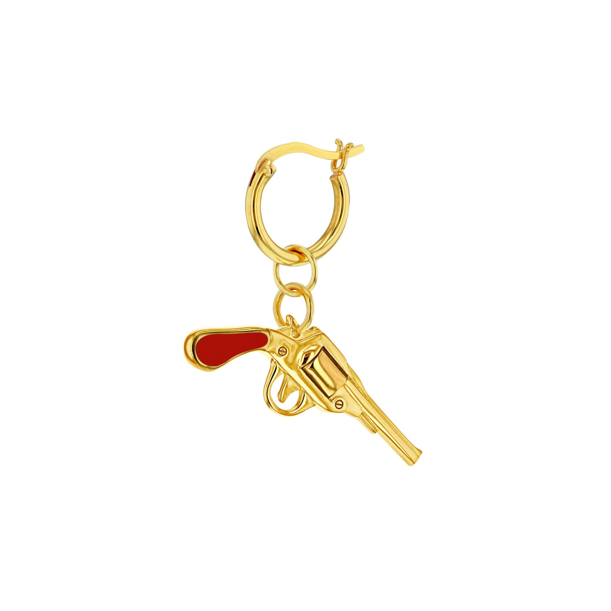 Red Gun Gold Hoop Earring