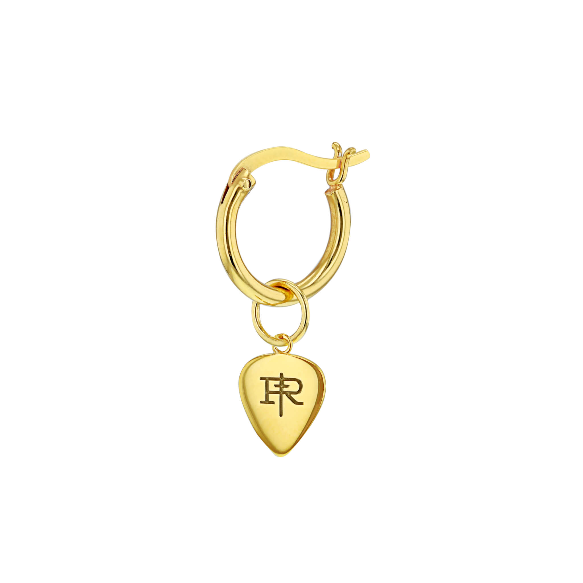 18kt Gold Plated Mini Plectrum Charm on Gold Plated Hoop Earring