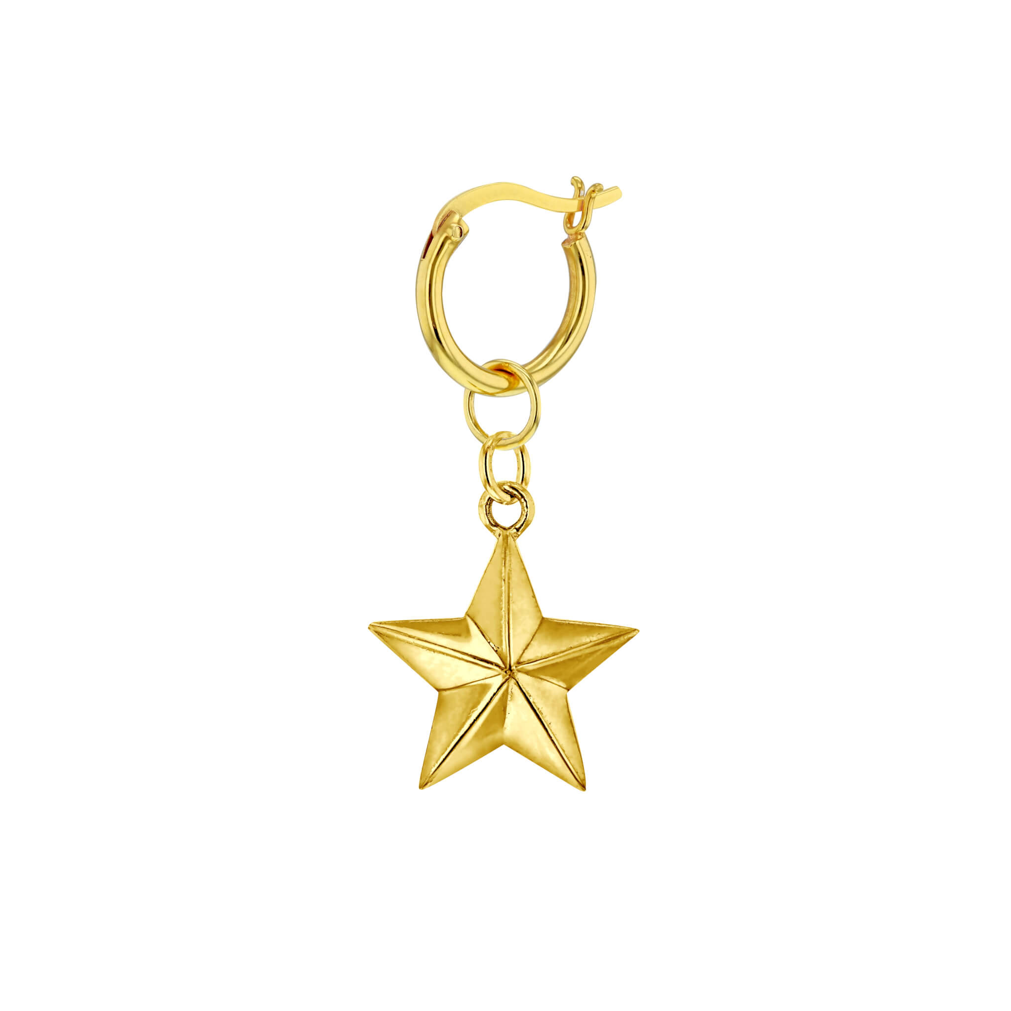 Single Gold Mini Star on Gold Hoop
