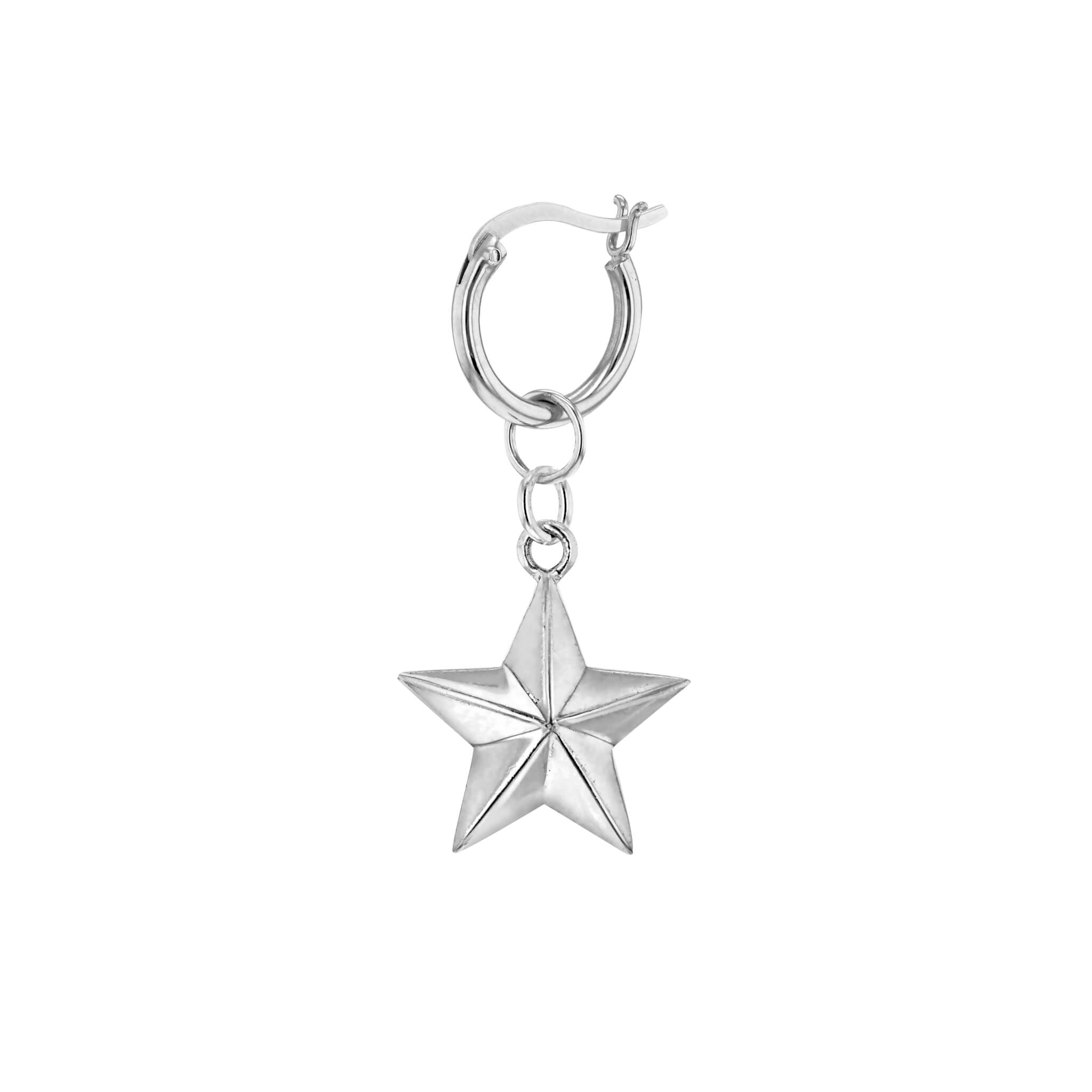 Single Mini Silver Star on Silver Hoop