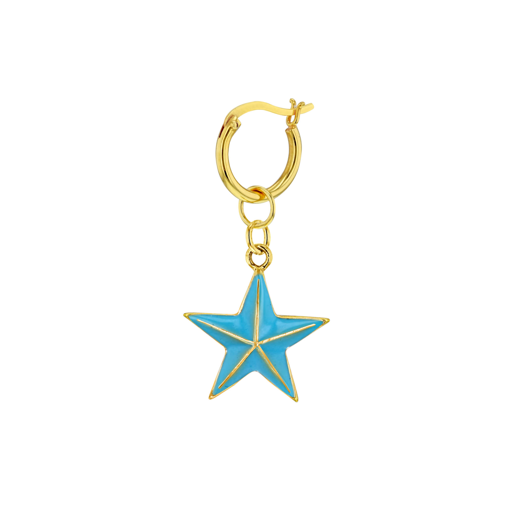 Turquoise-Gold Single Mini Star on Gold Hoop