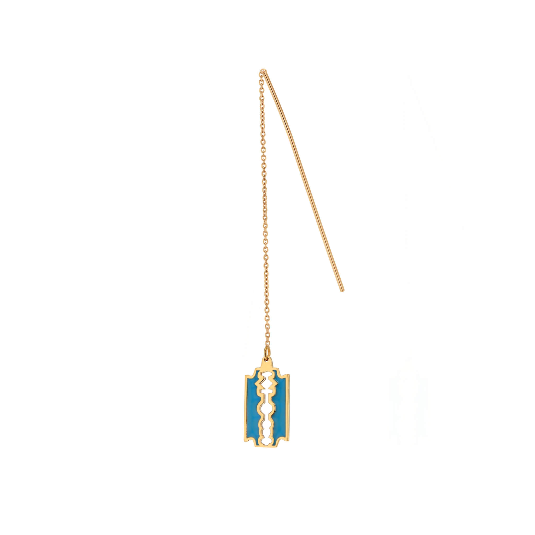 Turquoise-Gold Single Razor B Pull Through Earring
