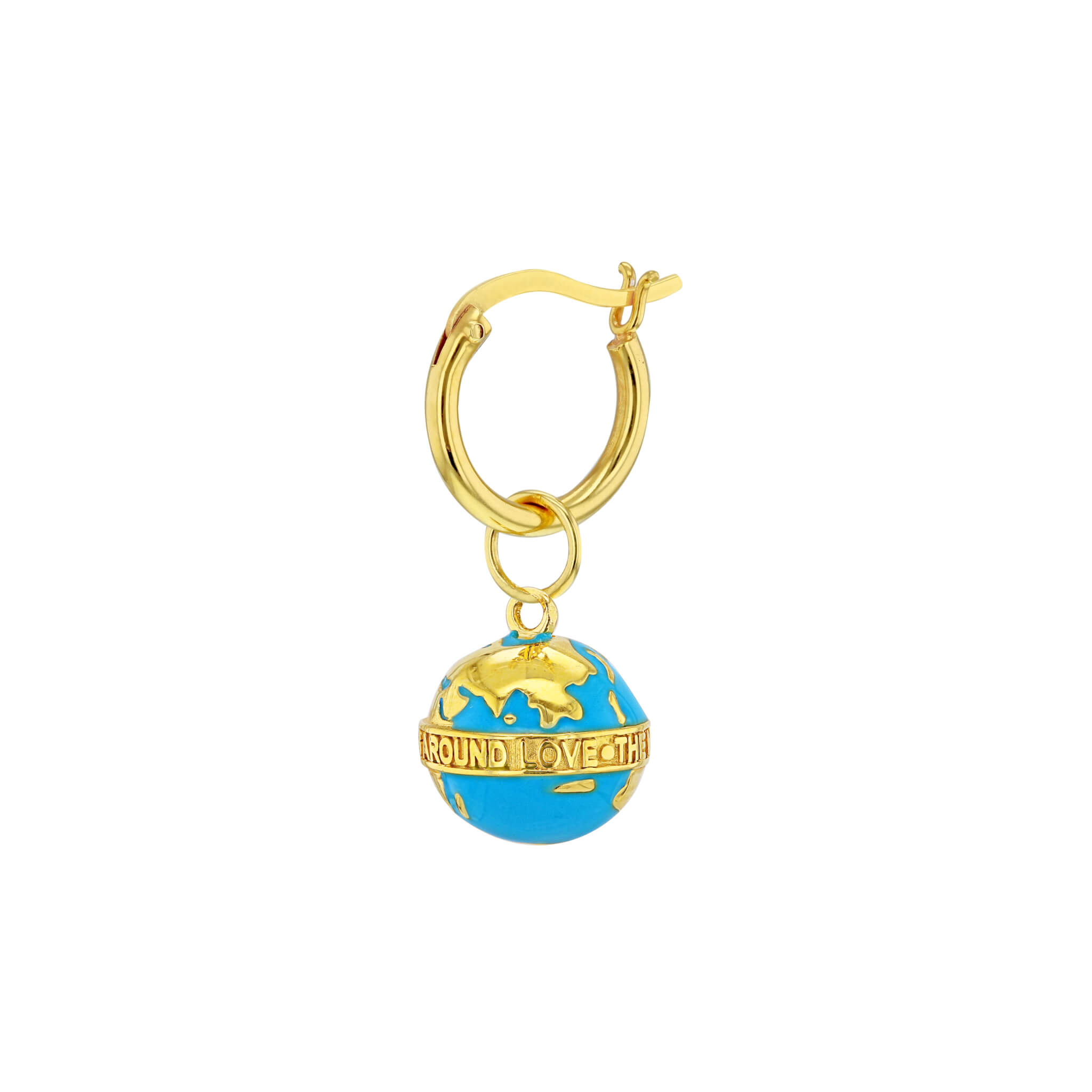 Turquoise-Gold Single Tiny Globe on Gold Hoop