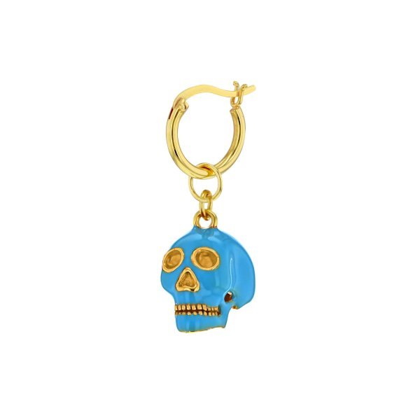 18kt Gold Plated & Turquoise Enamel Mini Skull on Gold Plated Hoop