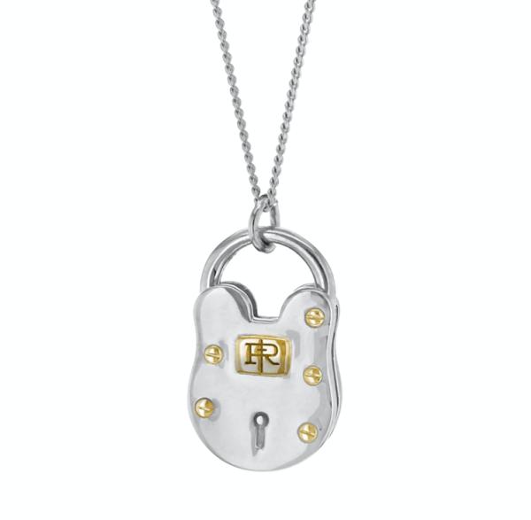 2-tone-medium-padlock-silver-gold-medium-pendant