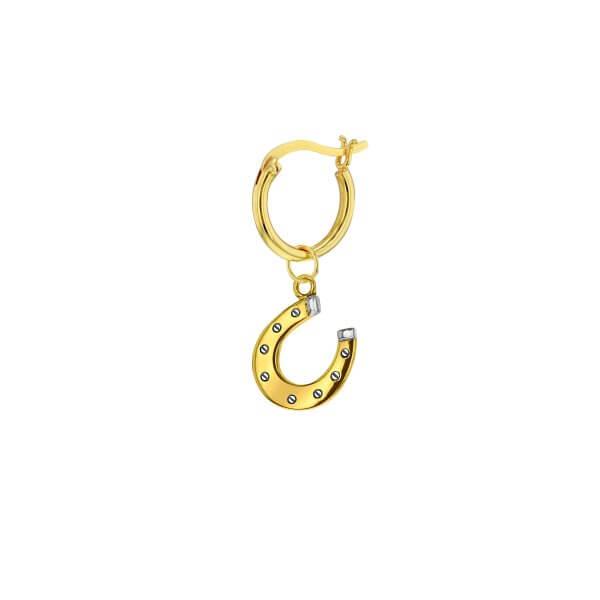 GP-S 2-Tone Single Mini Horseshoe charm on Gold Hoop NEW