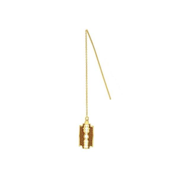 Glittery Gold Razor Blade Earring