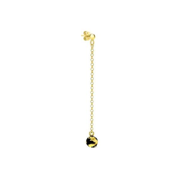 Single Black & Gold Globe Hanging Earring