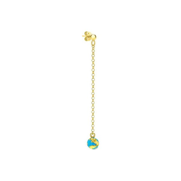 Single Turquoise & Gold Globe Hanging Earring