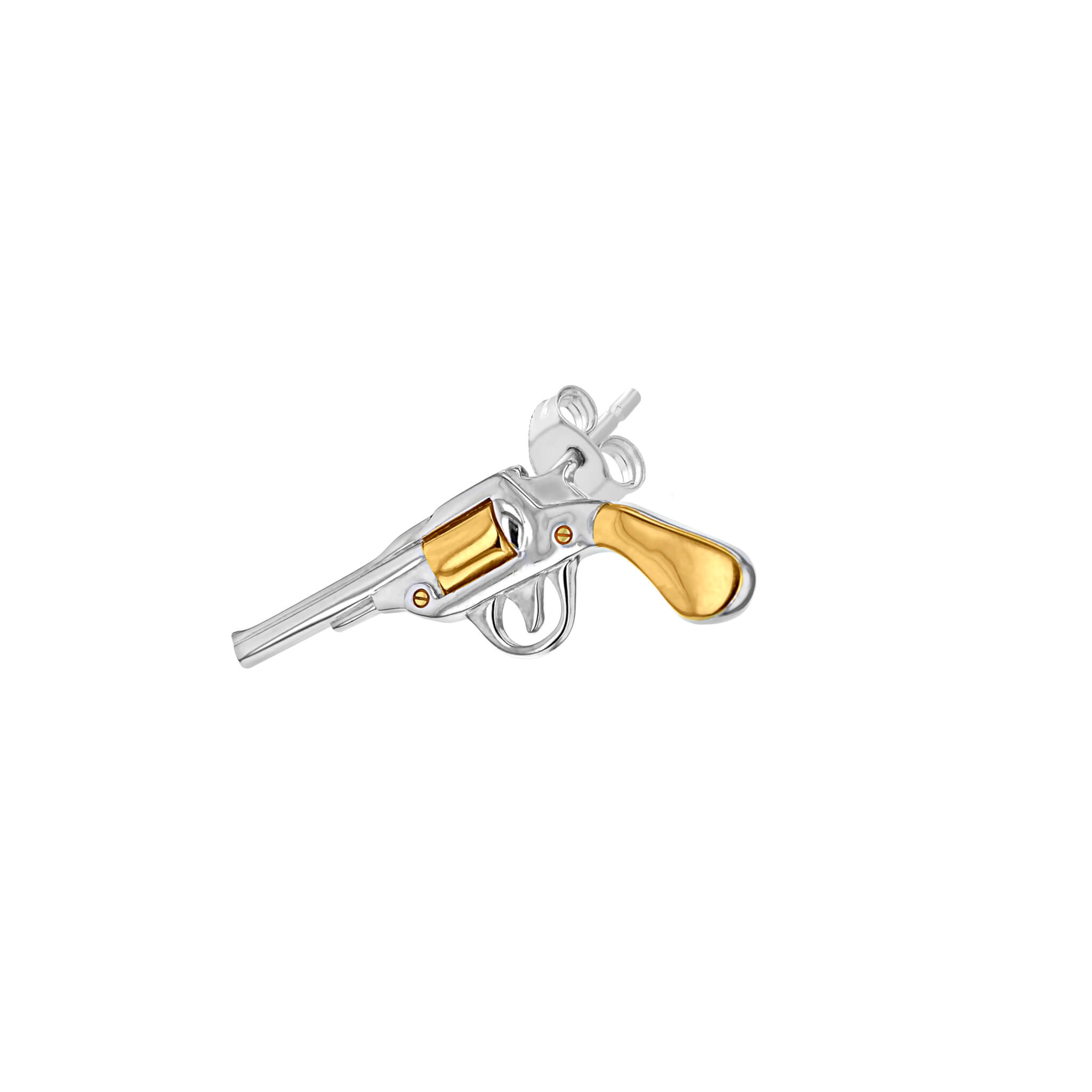 Stud 2-Tone Silver & Gold Pistol for left ear