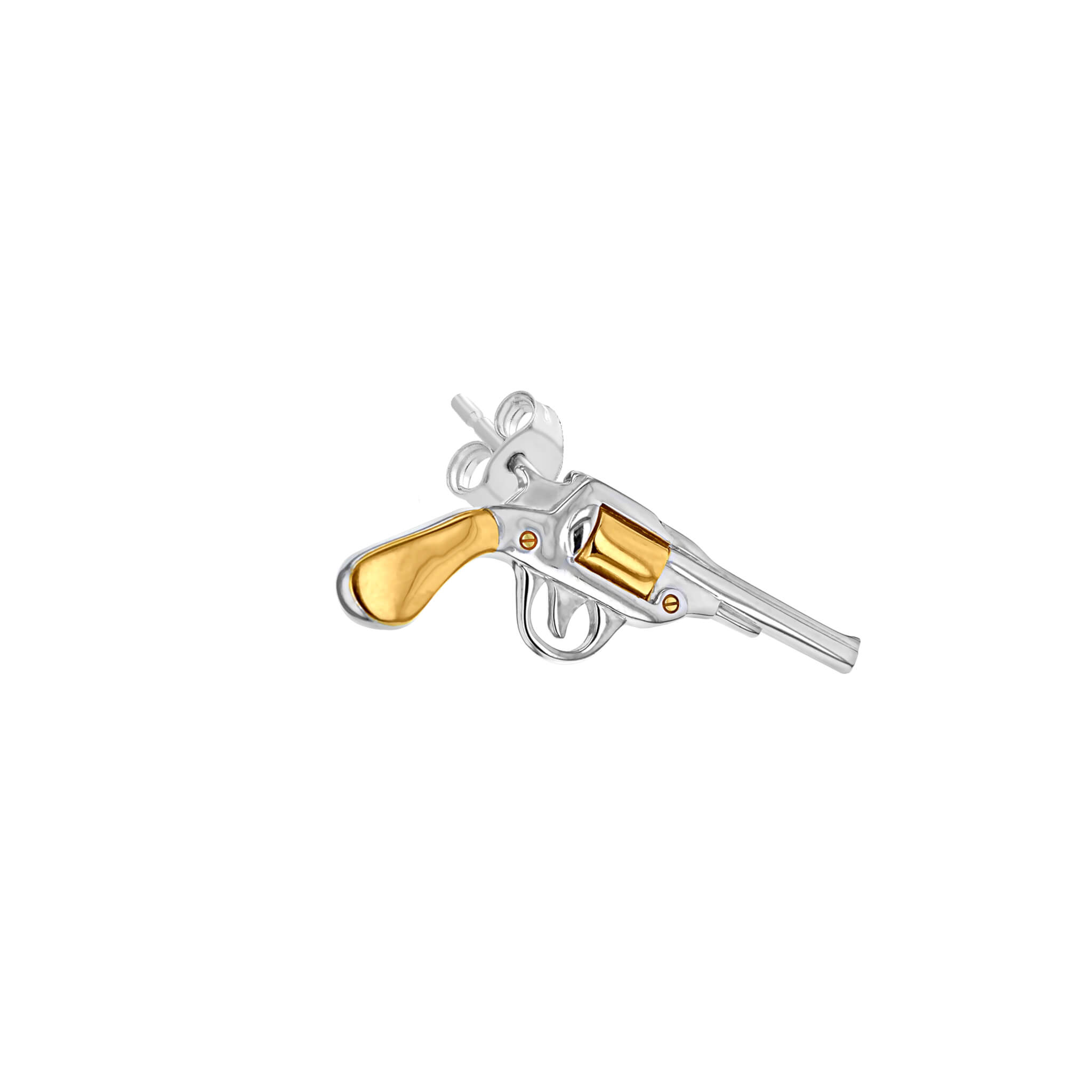 Stud 2-Tone Silver & Gold Pistol for right ear