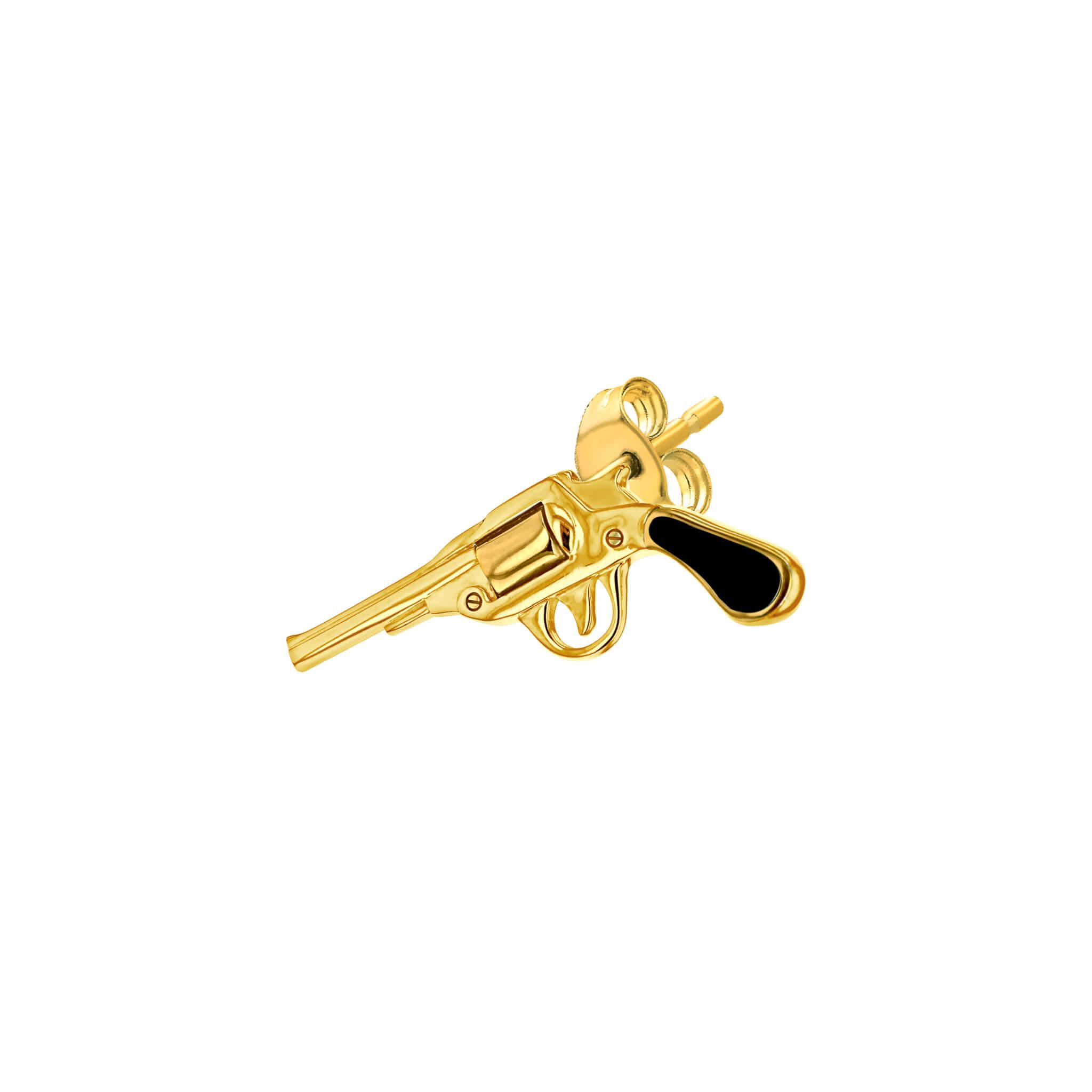 Stud Black & Gold Pistol for left ear