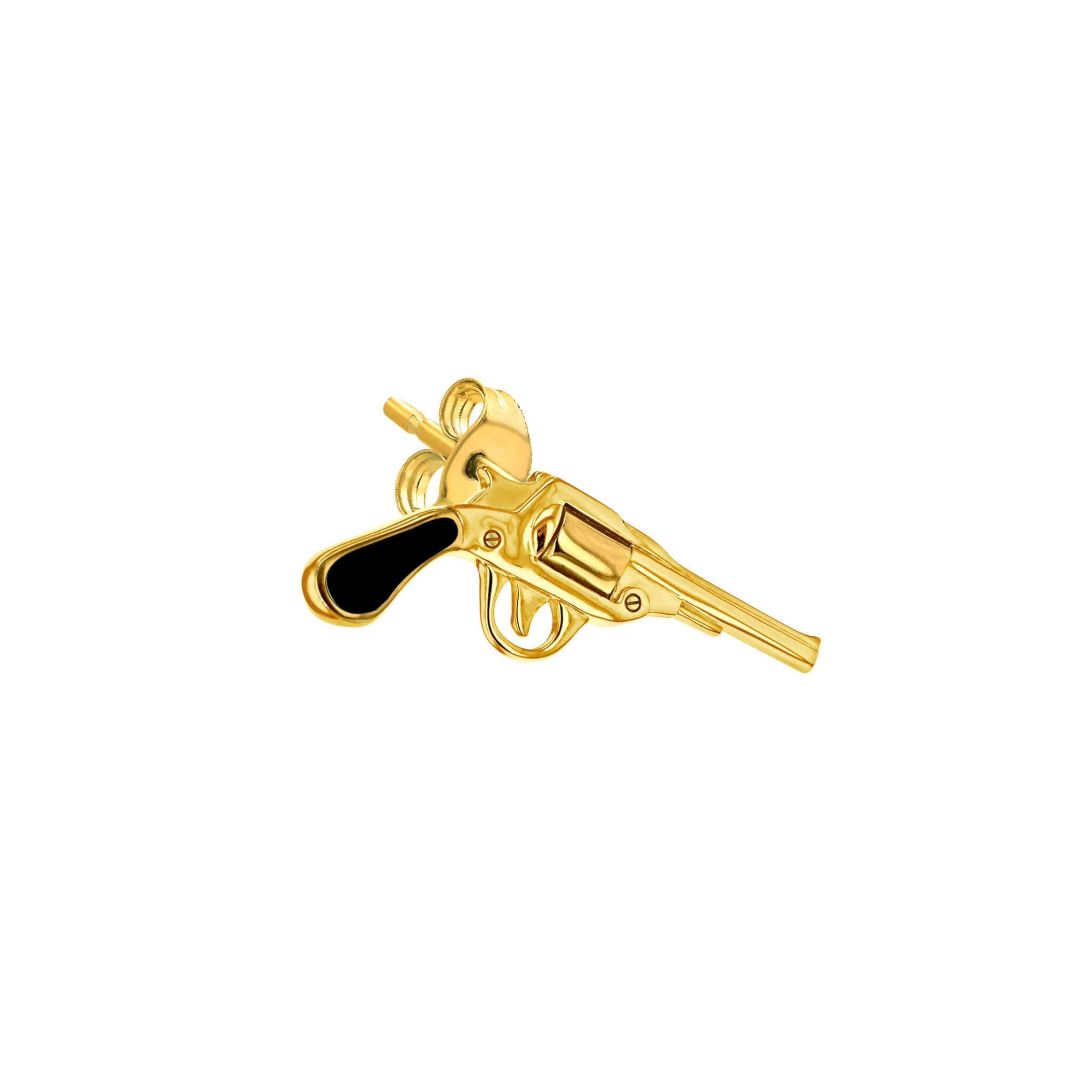 Stud Blaclk & Gold Pistol for right ear