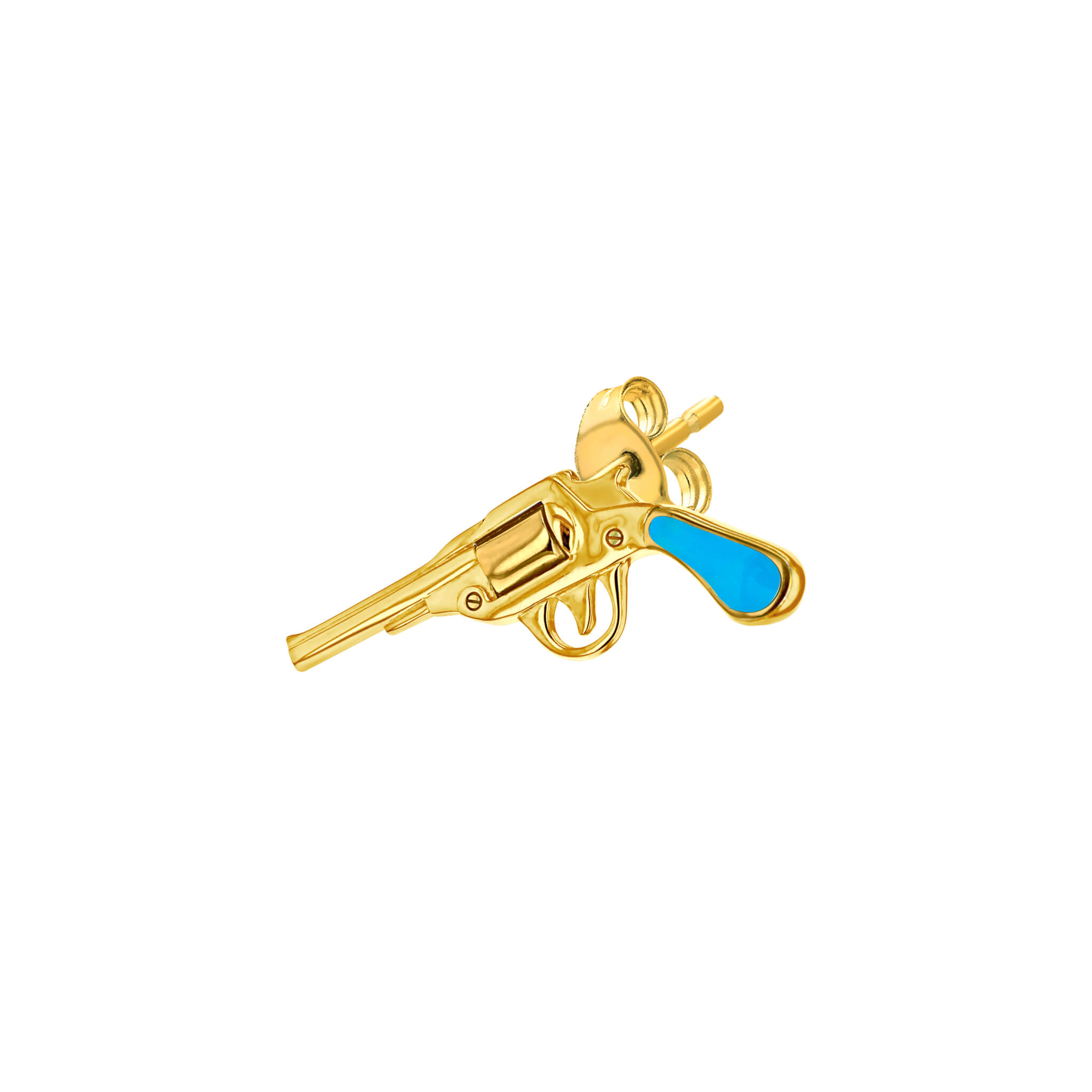 Stud Turquoise Gold Pistol for left ear