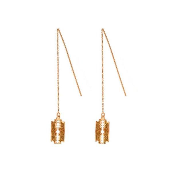 Glittery-Rose-Gold-Razor-Blade-Earring-set
