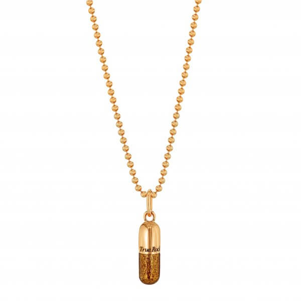 SMALL BRONZE GLITTER & ROSE GOLD PILL PENDANT ON ROSE GOLD BEAD CHAIN
