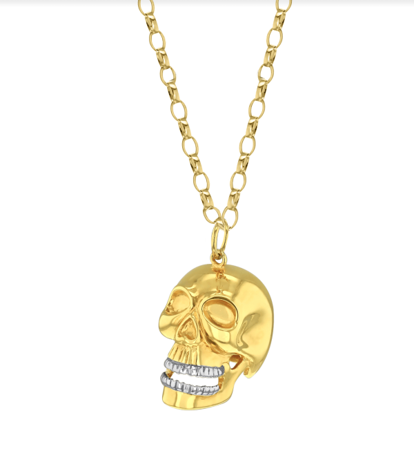 TWO TONE GIANT SKULL PENDANT GOLD –(SILVER)