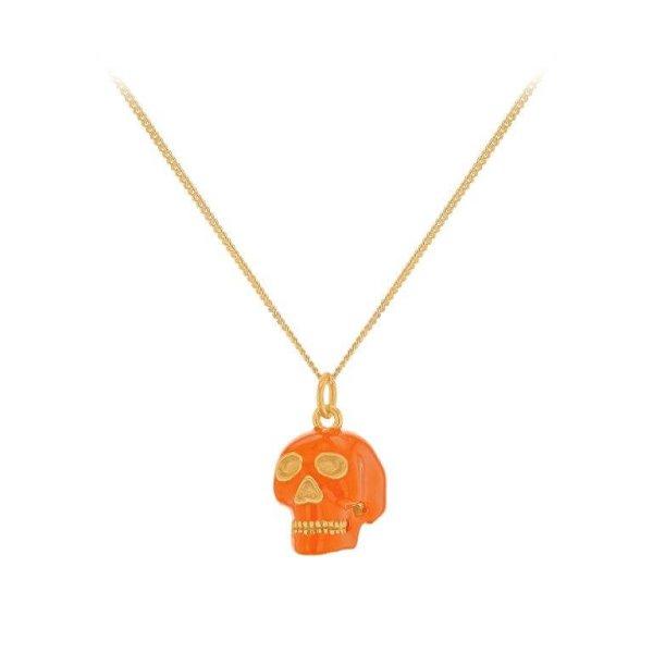 ORANGE Enamel & Gold Skull Pendant