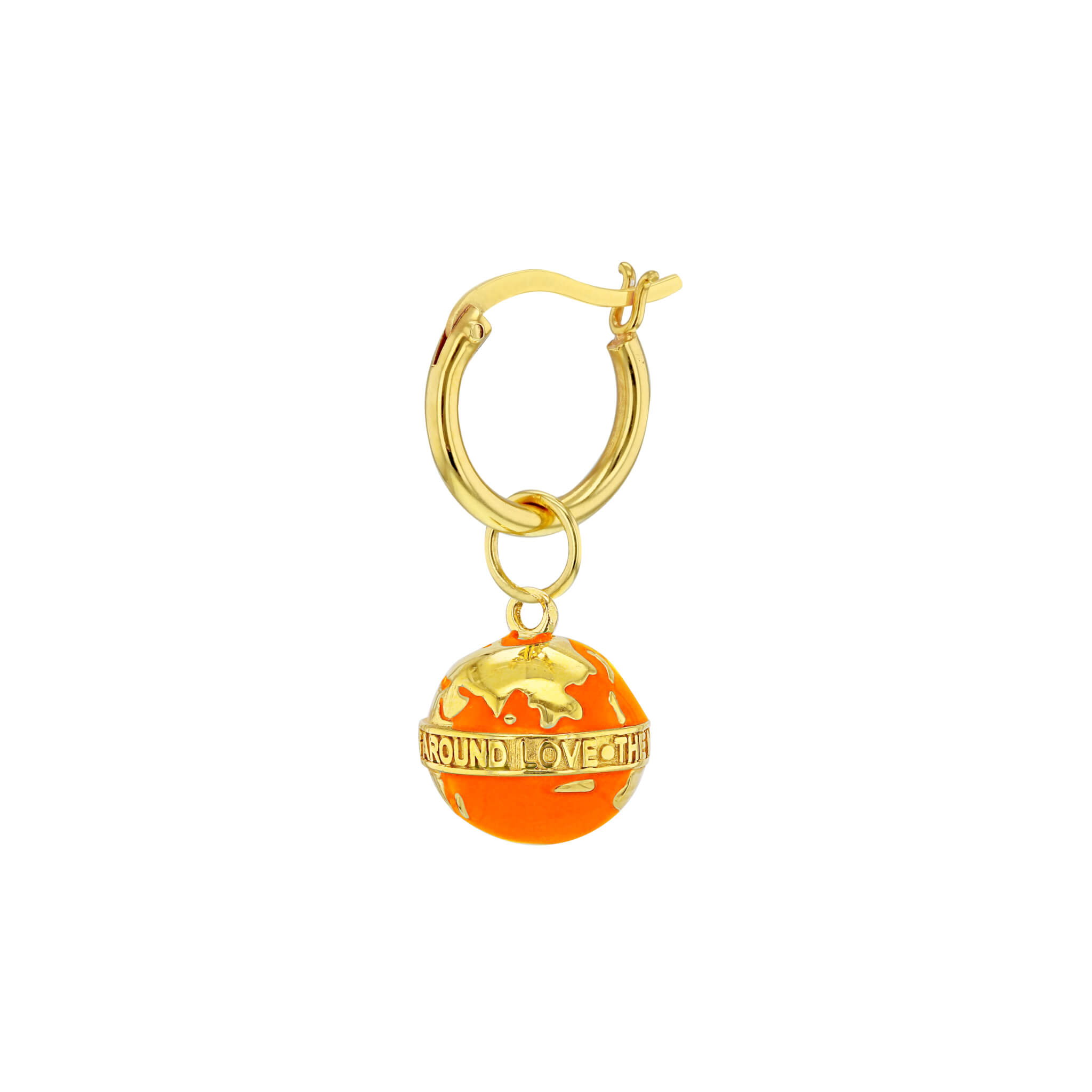 Orange Globe Gold Hoop Earring