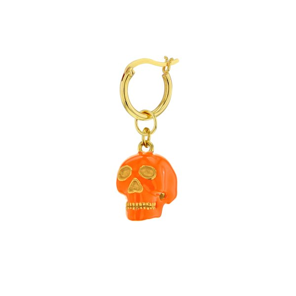 18kt Gold Plated & Orange Enamel Mini Skull on Gold Plated Hoop Earring