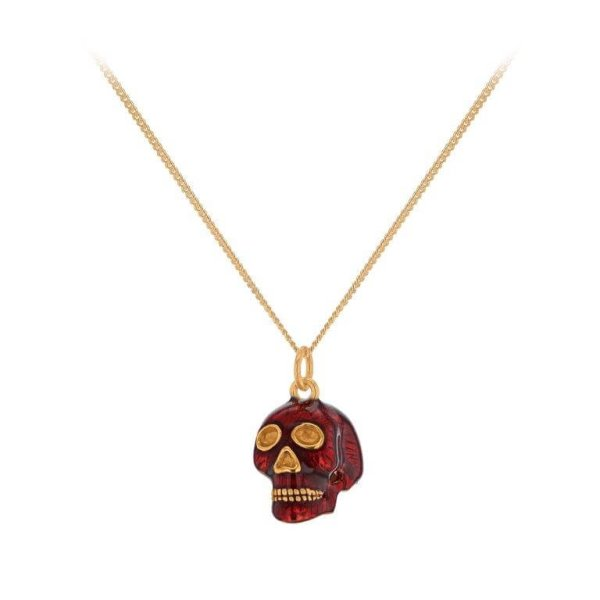 RED Enamel & Gold Skull Pendant