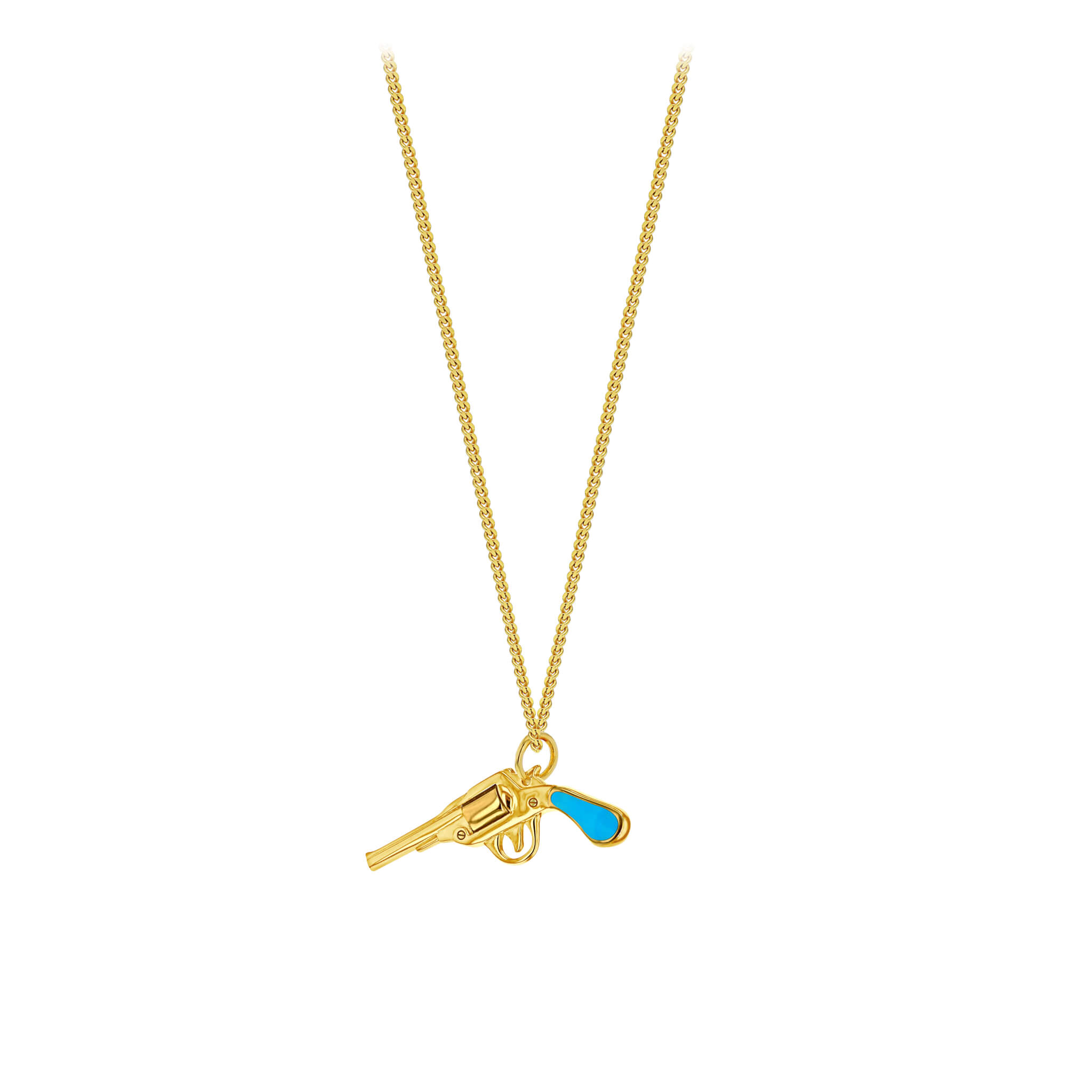 Turquoise Gun on Fine Gold Chain