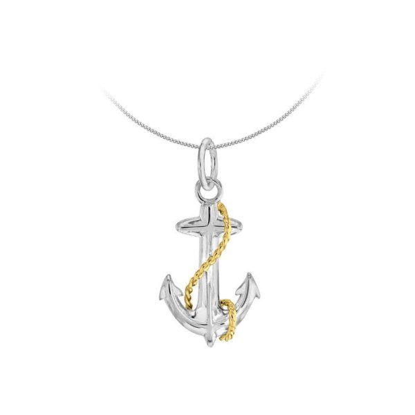2 Tone Sterling Silver & 18kt Gold Plated Mini Anchor Pendant
