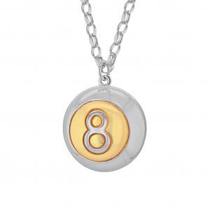 2-TONE-8-Ball-Silver-&-Gold-Large-Pendant