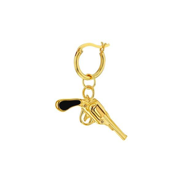 black-Gun-Gold-Hoop-Earring