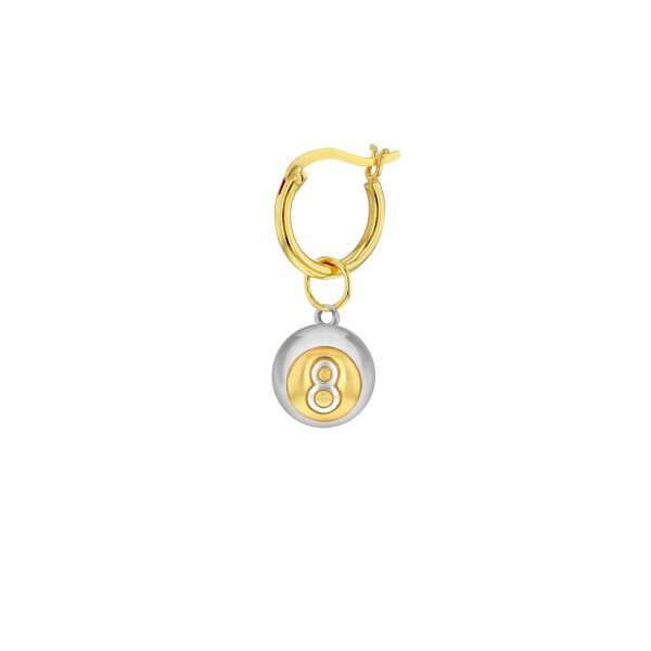GP-S 2-Tone 8 ball charm on Gold Hoop NEW