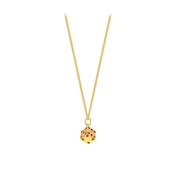 Gold Plated Dice Mini Pendant