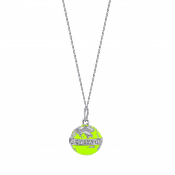 MINI NEON LIME GREEN GLOBE ON FINE SILVER CHAIN