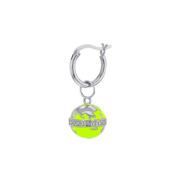 MINI NEON LIME GREEN & SILVER GLOBE ON SILVER HOOP