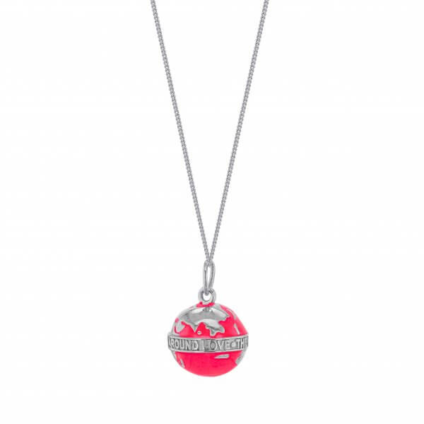 MINI NEON PINK & SILVER GLOBE ON FINE SILVER CHAIN