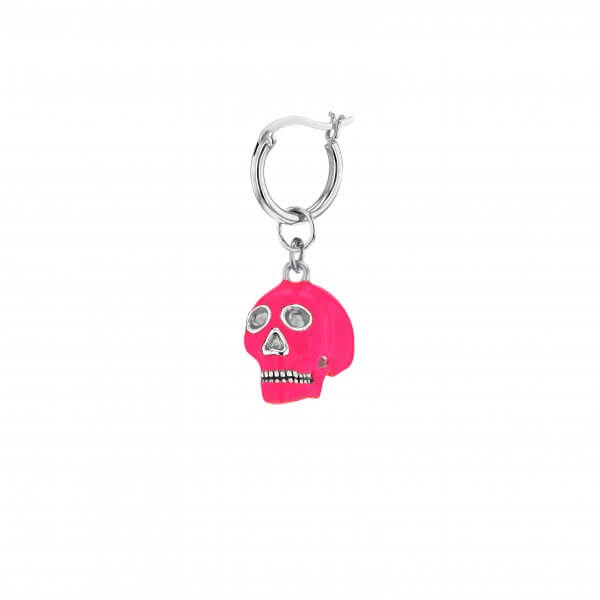 Sterling Silver & Neon Pink Mini Skull on Sterling Silver Hoop