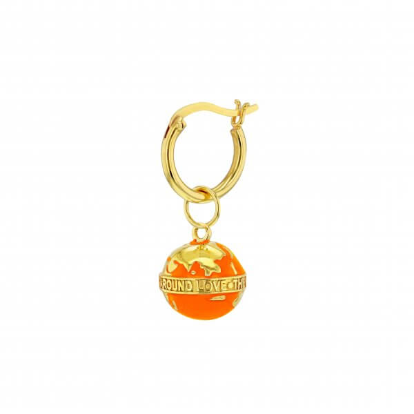 MINI ORANGE & GOLD GLOBE ON GOLD HOOP